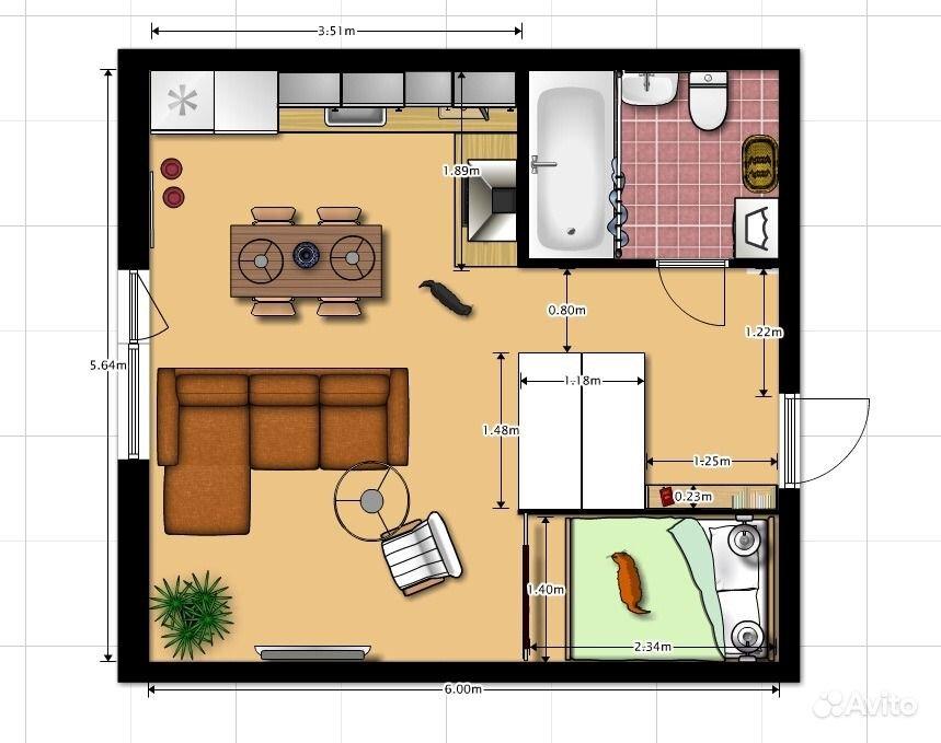 Однокомнатная квартира 33 кв.м дизайн
