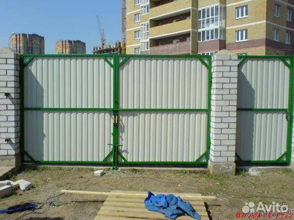 Ворота из профтрубы своими руками фото