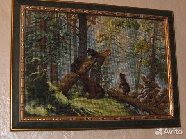картина утро в сосновом лесу: