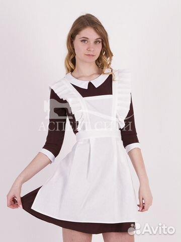 Коричневое платье и белый фартук, 14-449к купить в Москве на Avito ... 1c5d8cca120