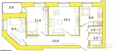 Продается трехкомнатная квартира за 3 415 000 рублей. Сусанина, 17.