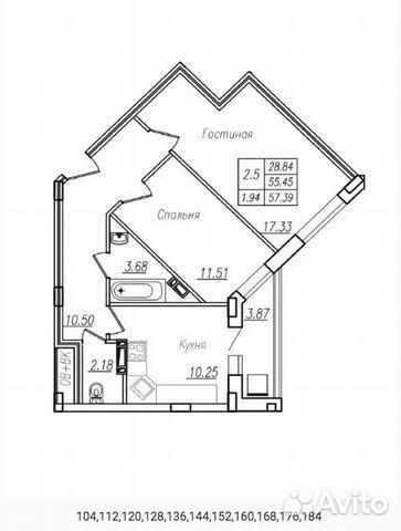 2-к квартира, 54 м², 2/13 эт. 89517010110 купить 5