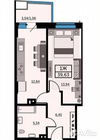 1-к квартира, 39.3 м², 15/26 эт. купить 1