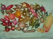 Елочные игрушки. Фрукты, овощи. 35+ шт. СССР