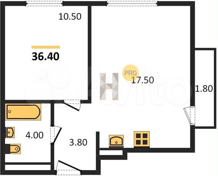 1-к квартира, 36.4 м², 7/14 эт.  89828340483 купить 8