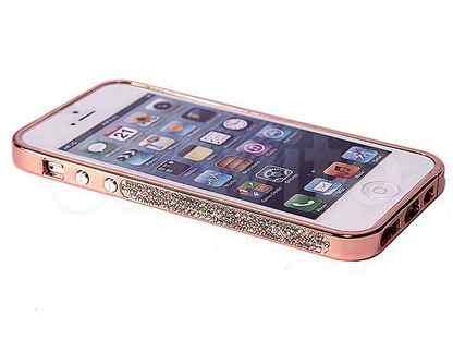 Бампер для iPhone 5 мет 0,7мм двойной стразы зол
