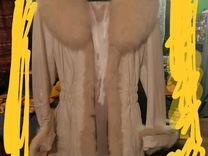 Пальто кожаное с песцом